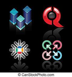 Set emblems on a black background
