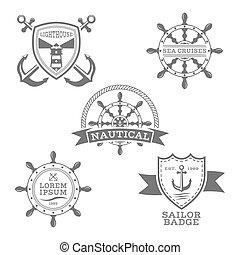 set, emblems, vector, achtergrond, nautisch, monochroom, witte