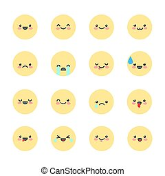 Set Emoji icons for applications and chat. Emoticons with different emotions isolated on white background. Vector illustration in kawaii style.