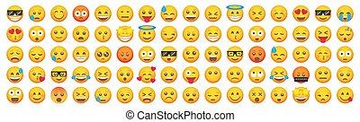 set., emoji, sourire, vecteur, dessin animé, ensemble, grand, emoticon, icons.