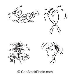 set, emoties, characters., vector, illustratie, gezichten, spotprent