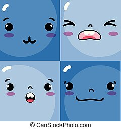 set emotions emoji faces characters icons