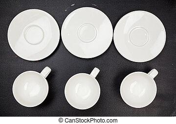 set empty coffee or tea