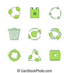 Set Environmental Labels, Recyclable Triangle Sign, Compostable Waste, Biodegradable Garbage Litter Bin. Icons Collection, Management of Trash, Re-create New Material, Conservation Vector Illustration