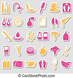 set, eps10, beauty, groot, thema, gevarieerd, stickers