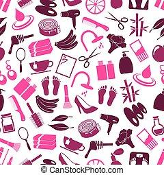set, eps10, beauty, iconen, kleur, groot, seamless, thema, gevarieerd, model