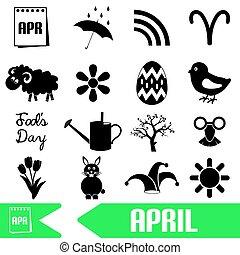 set, eps10, iconen, eenvoudig, maand, april, thema