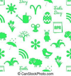 set, eps10, iconen, eenvoudig, model, seamless, maand, april, thema, groene