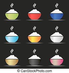 set, eps10, iconen, kleur, kom, voedingsmiddelen, warme, gevarieerd, aziaat, rijst, eenvoudig
