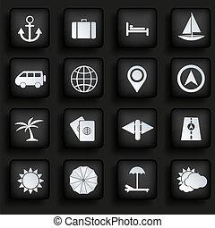 set, eps10, iconen, reizen, achtergrond., vector, black