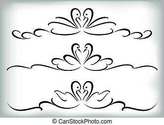 set, eps10, illustration., vignettes, swans., vector
