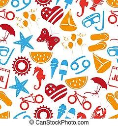 set, eps10, kleurrijke, iconen, eenvoudig, model, seamless, maand, thema, juli