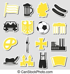 set, eps10, land, symbolen, thema, duitsland, stickers