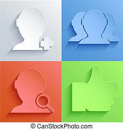 set, eps10, rete, sociale, vettore, backgrounds., icona