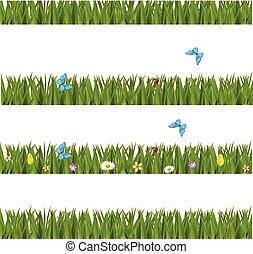 set, erba, realistico, farfalle, verde, profili di fodera, fiori