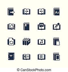 set, ereader, relativo, vettore, interfaccia, icona