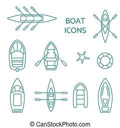 set., esboço, bote, ícones
