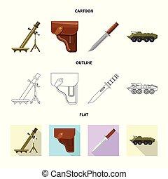 set, esercito, arma, web., fucile, illustrazione, vettore, logo., simbolo, casato