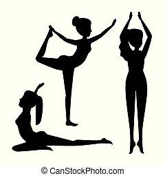 set, esercizio, atteggiarsi, donne