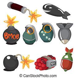 set, esplosivo, cartone animato, icona