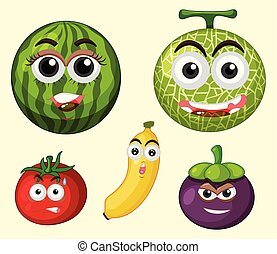 set, espressione, frutta
