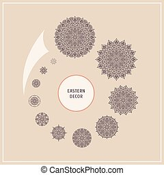 Set ethnic floral design elements. Vector logo in the style of a mandala