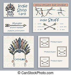 Set ethnic Indian business cards