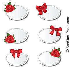 set, etichetta, cartelle, con, rose, e, regalo, archi