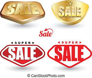 set., etichetta, super, vendita