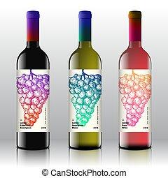 set, etichette, bottles., disegno, qualità, mazzo, rosa, pendenza, retro, disegnato, bianco, minimo, moderno, premio, mano, typography., uva, rosso, realistico, vettore, pulito, elegante, vino