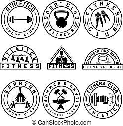 set, etichette, elementi, disegno, idoneità, vario