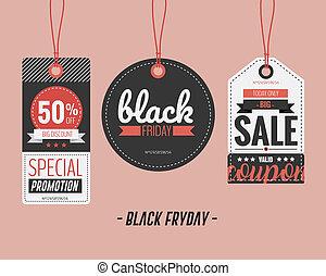 set, etichette, prezzo, Venerdì, vettore, nero, illustrazione