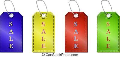 set, etichette, vendita, illustrazione, isolato, vettore, fondo, bianco