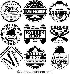 set, etichette, vettore, negozi barbiere, ecc.