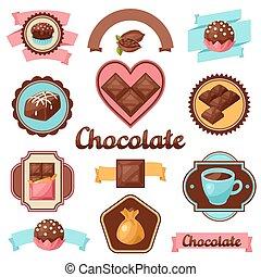 set, etiketten, chocolade, zoetigheden, smakelijk, gevarieerd, kentekens