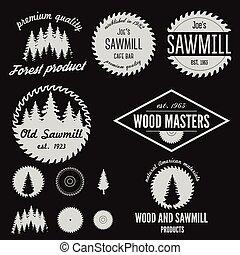 set, etiketten, logotype, houtzagerij, communie, kentekens, ...