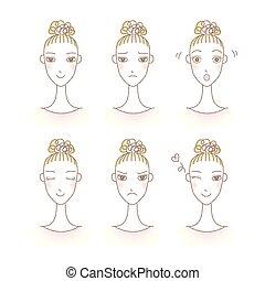 set, expression., van een vrouw, avatar., emotions., gezichts, meisje