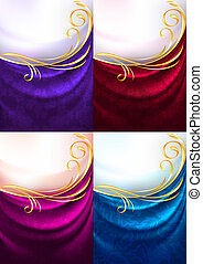 Set fabric curtain with ornament, holiday backdrop. Gradient...