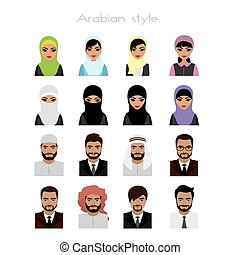 set - face Arab women and man avatar, isolated on white...