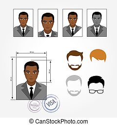 Set face, business suits, clothing, hairstyles.