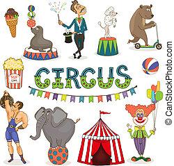 set, fairground, circus, vector, funfair, pictogram