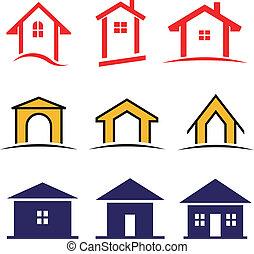 set, famiglia, casa, vettore, 9, icona