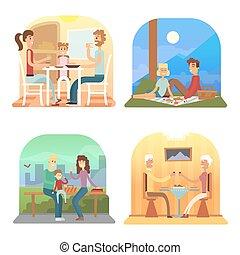 set, famiglia, cene, collection., cena, vettore, cartone animato