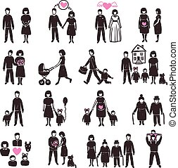 set, famiglia, icona