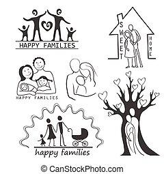 set, famiglia, icone, editable, disegno, tuo