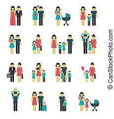 set, famiglia, icone