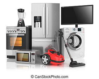 set, famiglia, isolato, apparecchi, fondo, bianco, cucina, 3d