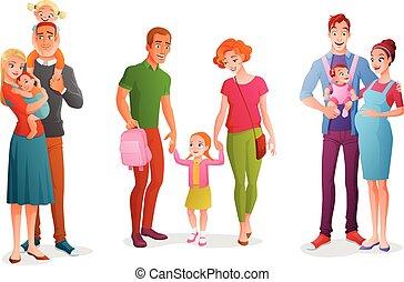 set, famiglia, isolato, children., fondo., vettore, illustrazioni, bianco