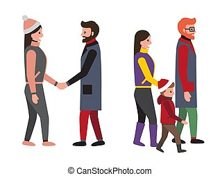 set, famiglia, persone, illustrazione, vettore, amici