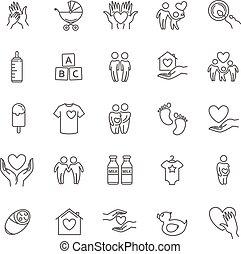 set, famiglia, vettore, linea sottile, bambini, icona